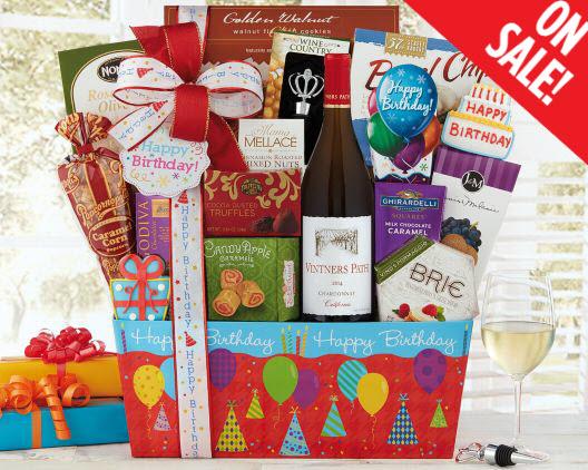 Chardonnay Birthday Gift Basket Wine