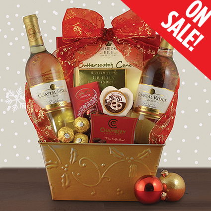 Moscato & Pinot Grigio Wine Gift w/ Chocolate Truffles, Pretzel, Butterscotch Candies 018. Price: $59.95